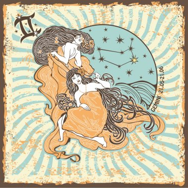 Gemini womans zodiac sign.Vintage Horoscope card