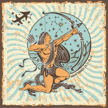 Sagittarius zodiac sign.Vintage Horoscope card