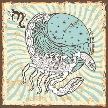 Scorpio zodiac sign.Vintage Horoscope card