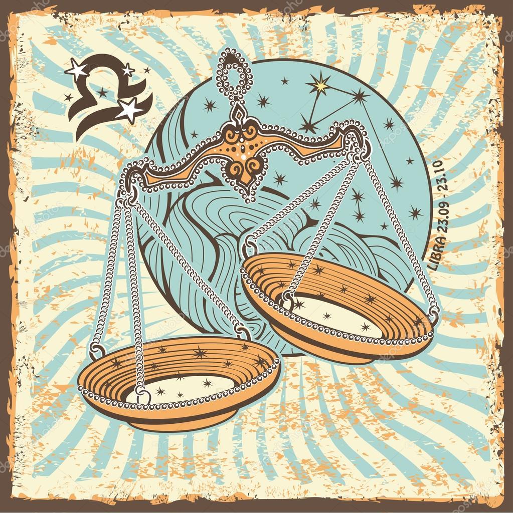 Libra zodiac sign Vintage Horoscope card — Stock Photo