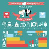 Esküvő infographics készlet