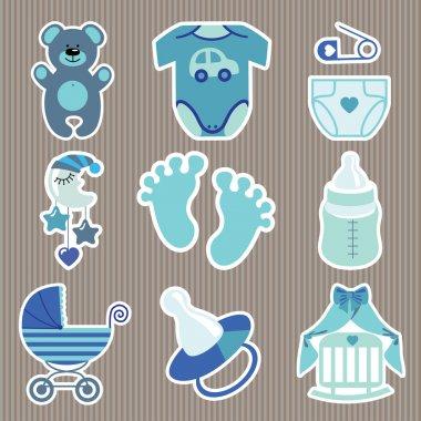 Cute icons for newborn baby boy.