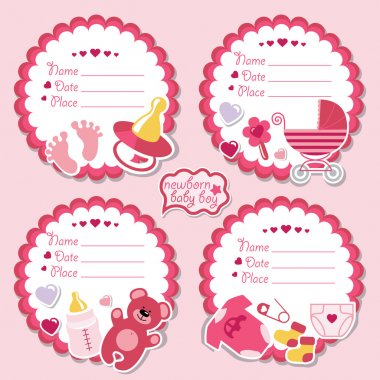 Cute label kit with items for newborn baby girl