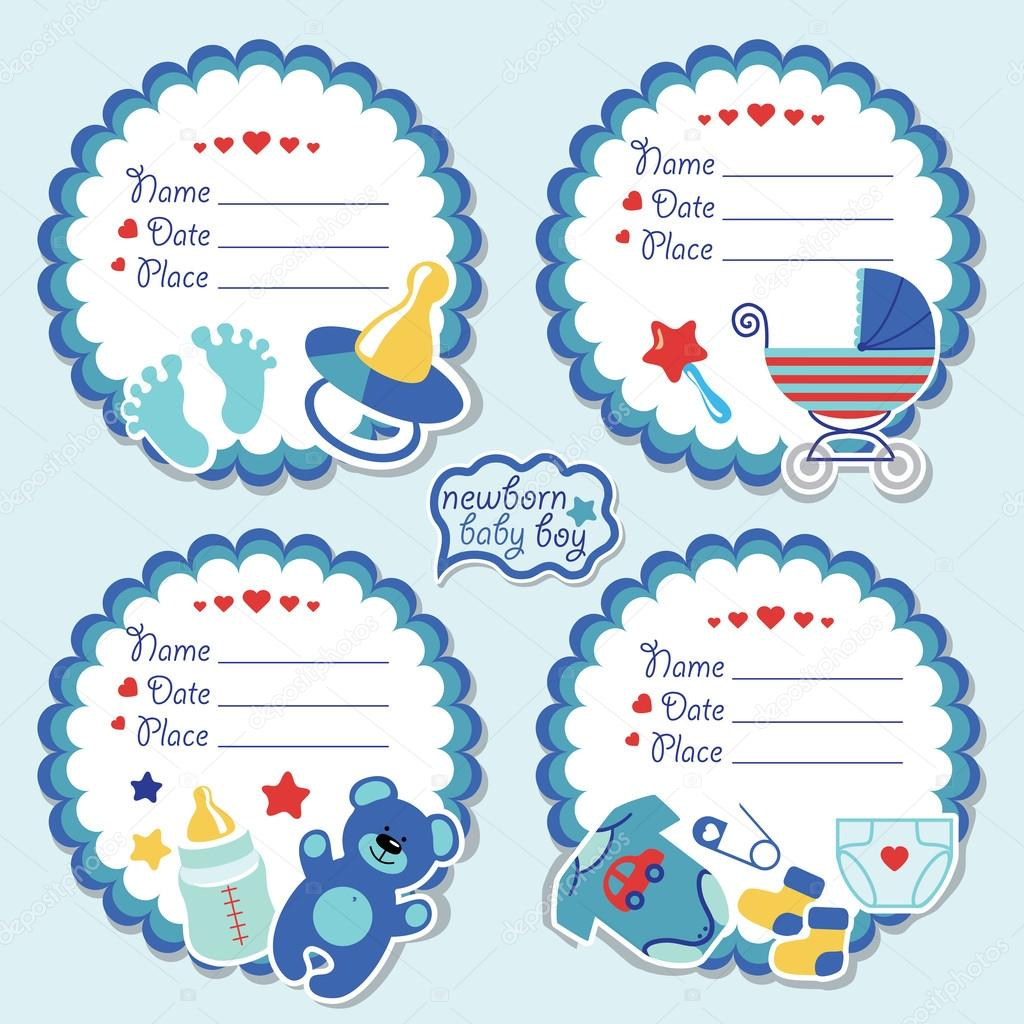 Cute label kit with items for newborn baby boy