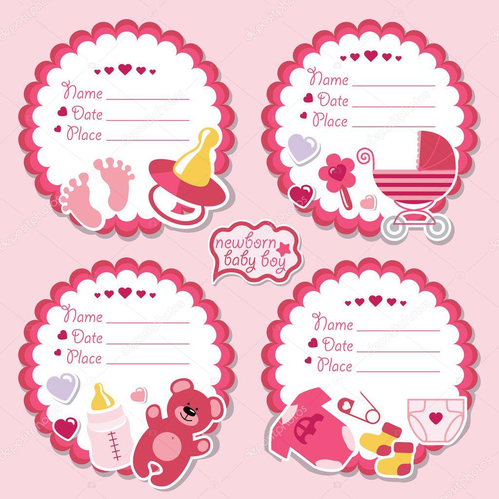kit de sello lindo con artículos para bebé recién nacido — Foto de ...