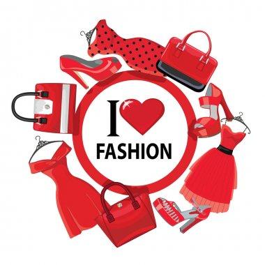 Red fashion women's dresses,handbag, high-heeled shoes.eps