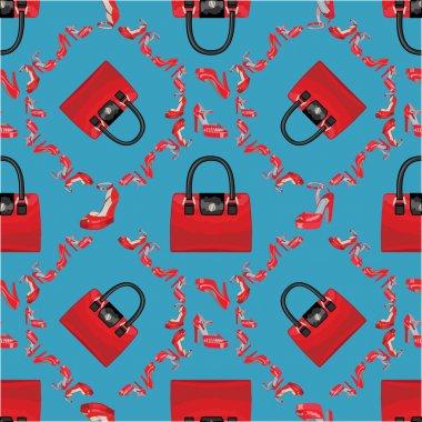 Fashion seamless pattern.High heel shoes and handbags