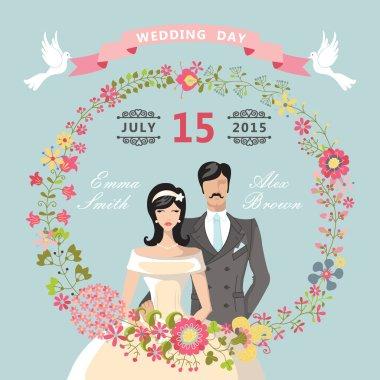 Retro Wedding invitation.Floral elements,Cartoon bride, groom