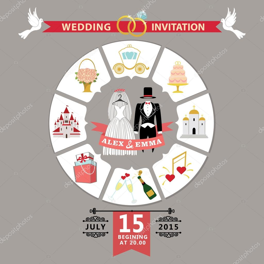 Wedding invitation in infographic style.Retro wedding wear — Stock ...