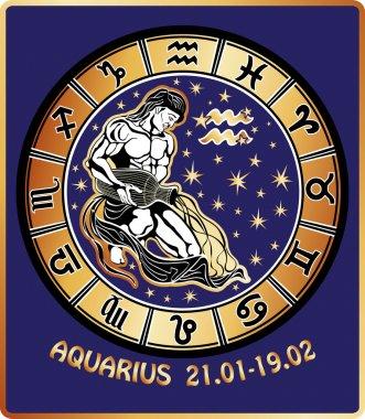 Aquarius zodiac sign. Horoscope circle.Retro Illustration
