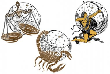 Libra,Scorpio,Sagittarius and the zodiac sign.Horoscope