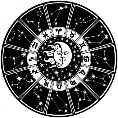 Zodiac sign and constellations.Horoscope circle.Black and white