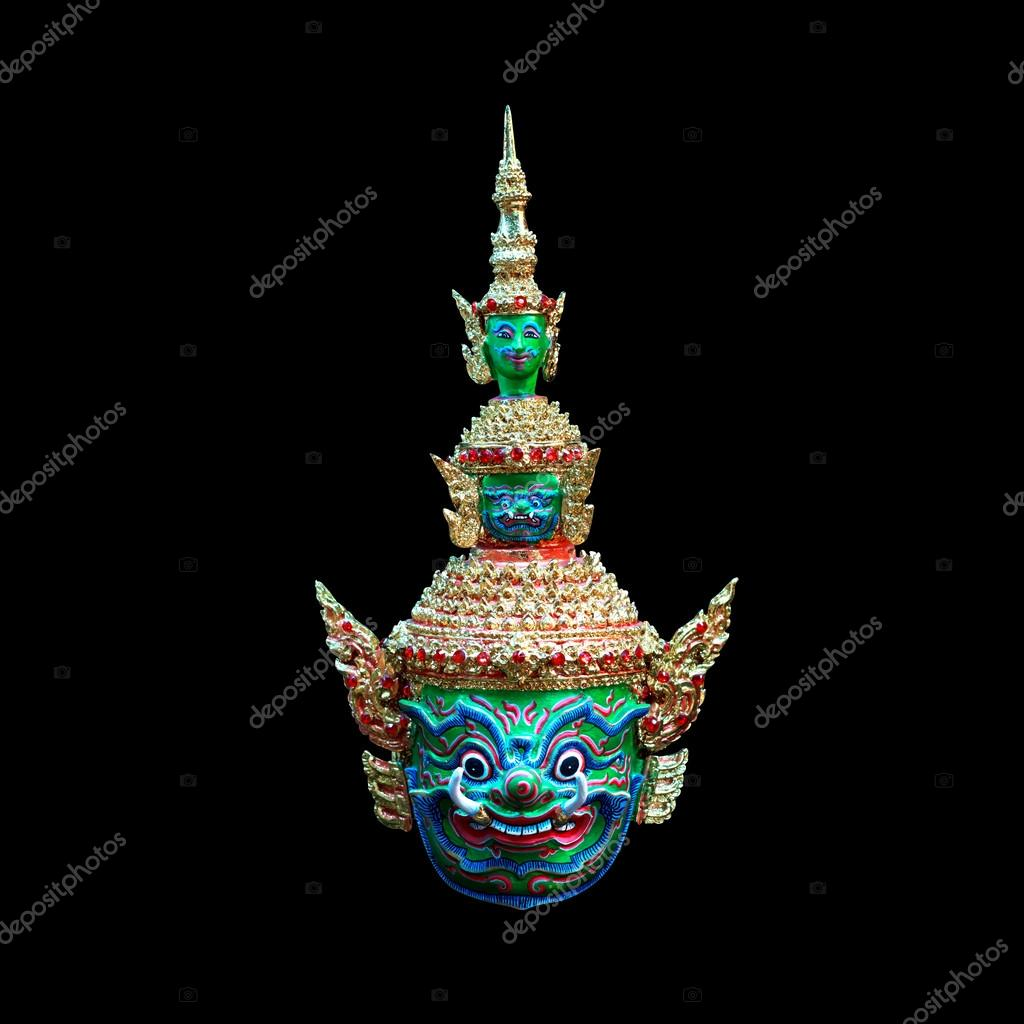 The giant mask worn by actors in marked performance. It is a Thai design mask.Clipping path
