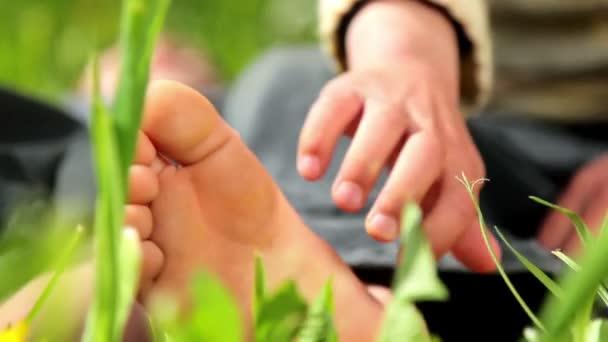 nohy dítěte, dětské nohy v trávě