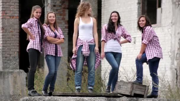 Young girls tap dancing