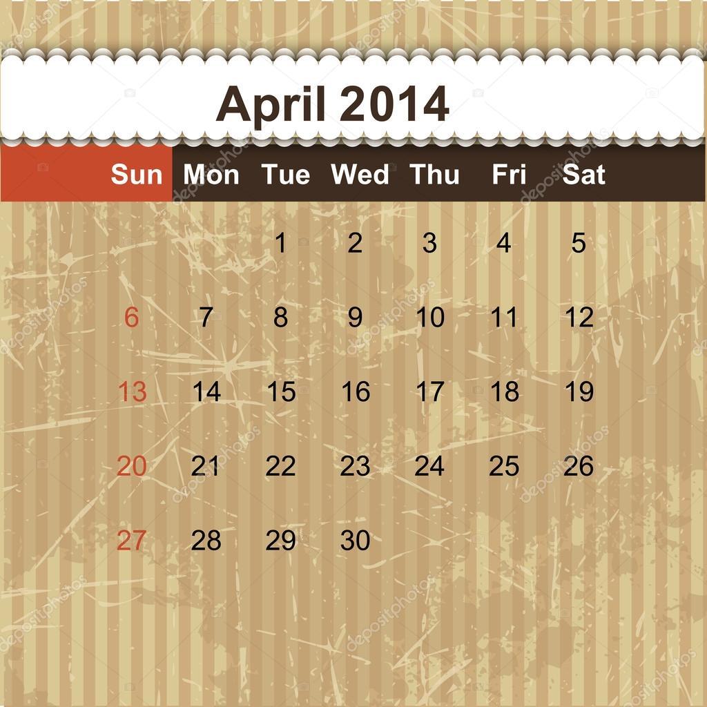 Berühmt 2014 Monatliche Kalendervorlagen Ideen - Beispiel Business ...