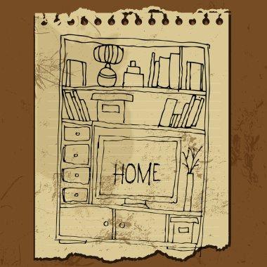 Illustrated retro style interior elements