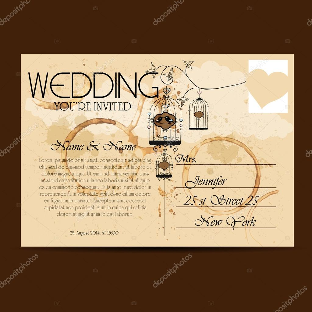 Vintage Hochzeitseinladung Auf Postkarte Stockvektor