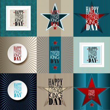 Set of  happy Martin Luther King Day American Background