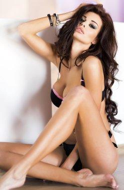 Attractive brunette beauty posing in underwear.