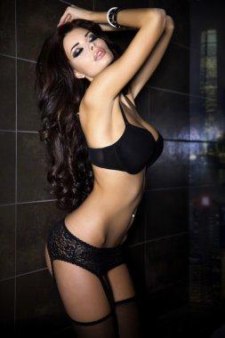 Beauty photo of sensual brunette lady.