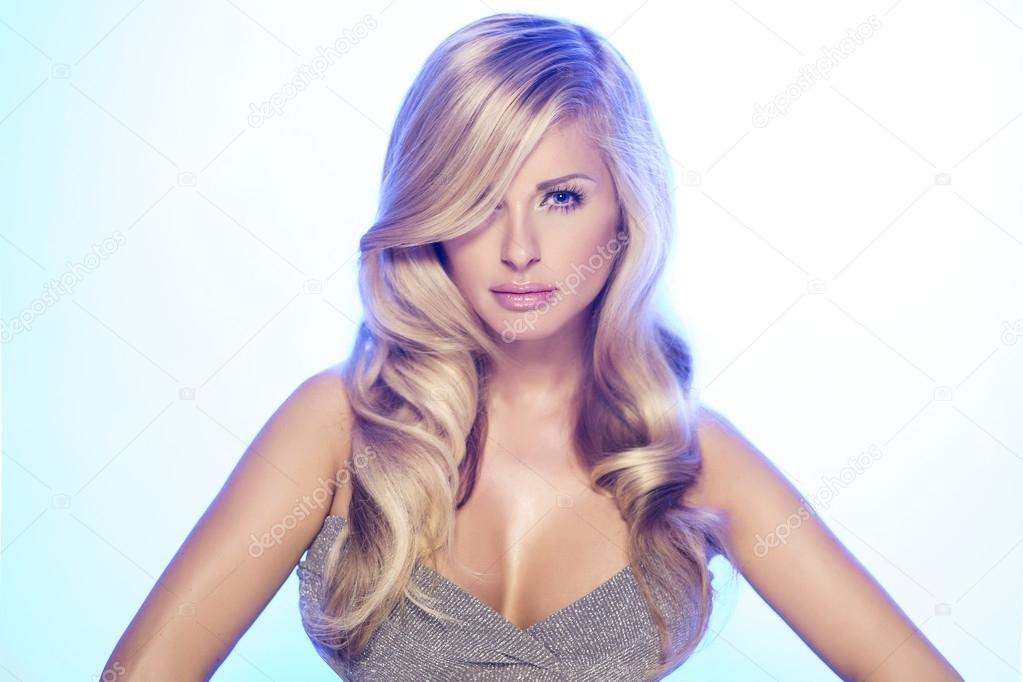 Fashion portrait of blonde beauty