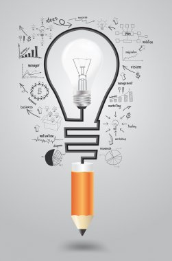 Light bulb with icons modern business and pencil