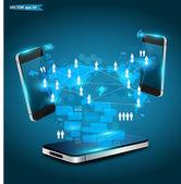 koncepce podnikání technologie mobilních telefonů, kreativní síťový diagram procesu informací, vektorové ilustrace moderní šablony design