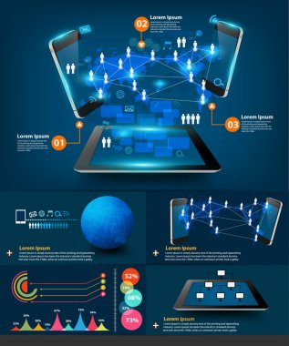 Modern infographics business technology communication