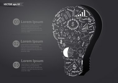 Drawing business strategy plan concept idea in creative light bulb, Vector illustration Modern template Design