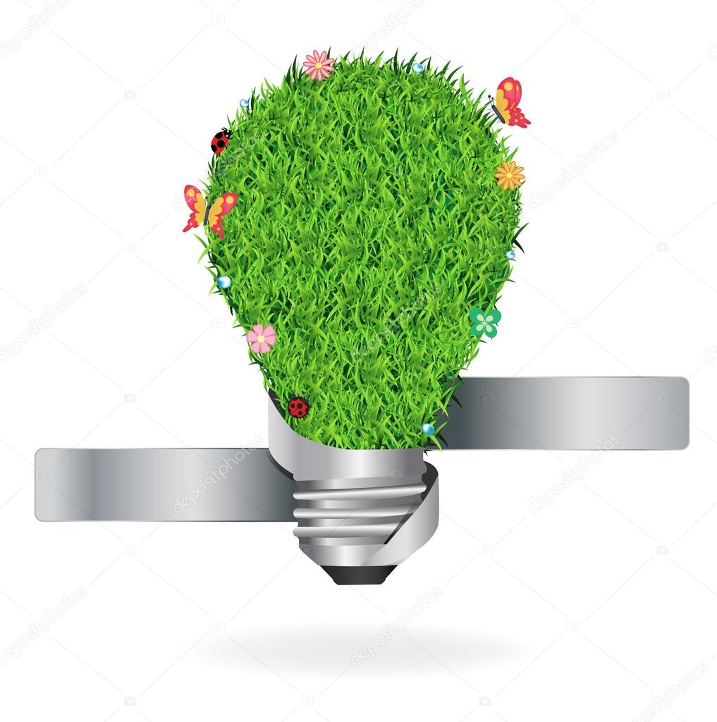 Creative light bulb with green grass ecological concept, Vector illustration template design
