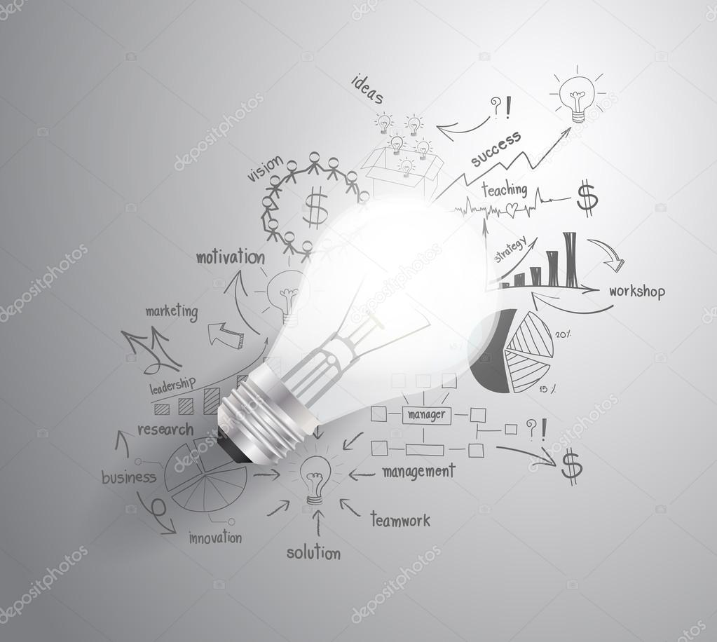 Light bulb with drawing business success strategy plan idea