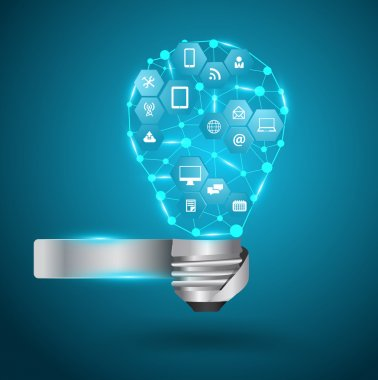 Vector light bulb with technology business network process