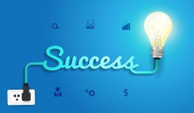 Vector success concept with creative Light bulb idea