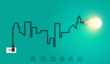 Vector cityscape with creative wire light bulb idea concept
