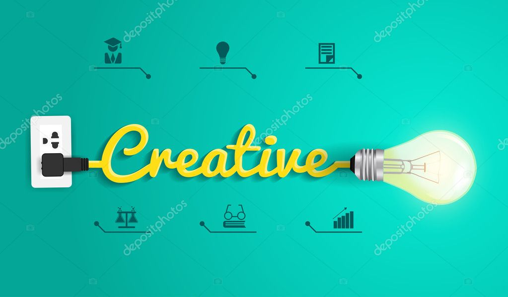Vector creative concept with light bulb idea