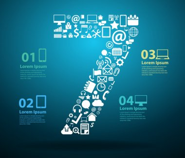 Application icons alphabet letters number design