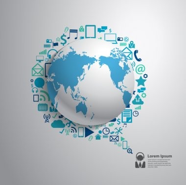 World globe with app icon business software and social media