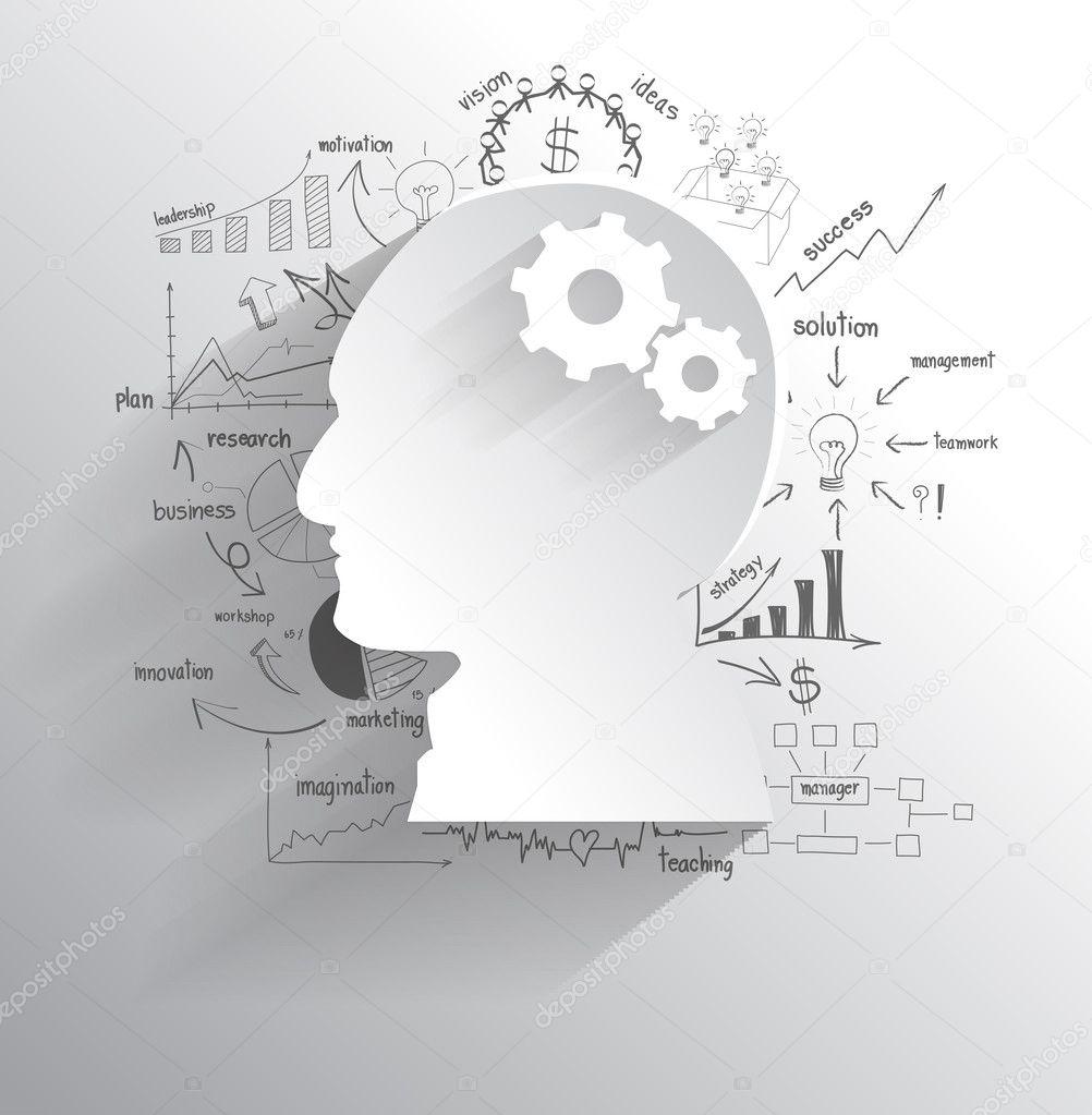 Human head with set of gears as a brain idea