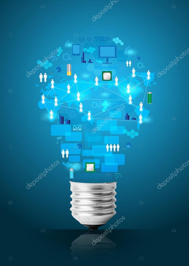 Creative light bulb with technology business network process dia