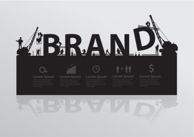 Construction site crane building brand text idea concept