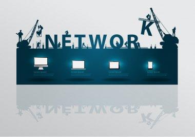 Construction site crane building network text idea concept