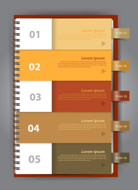 Notebook paper, Modern Design template for infographics numbered