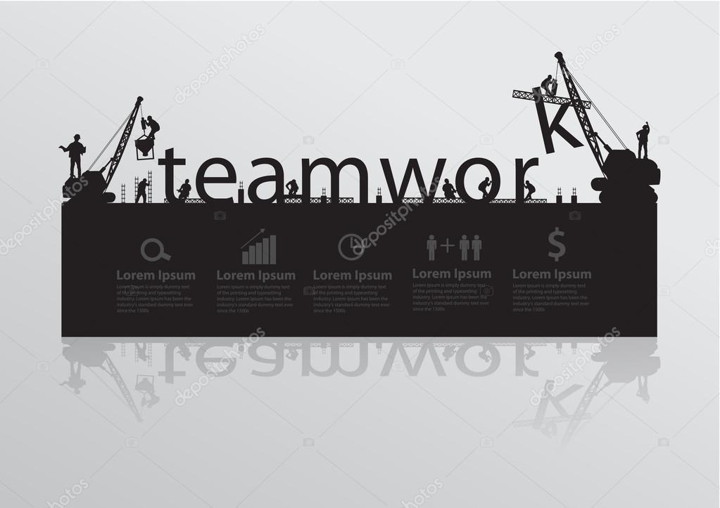 Construction site crane building teamwork text idea concept