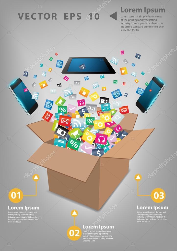 Computador tablet criativo com nuvem de telefones mveis do cone do computador tablet criativo com nuvem de telefones mveis do cone do aplicativo colorido software de negcios e meios de comunicao sociais networking ccuart Image collections
