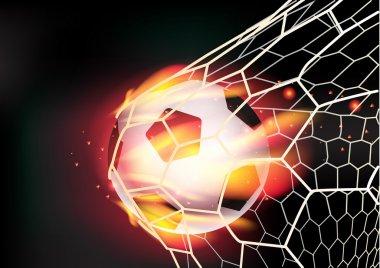 Vector soccer ball in goal net on fire flames