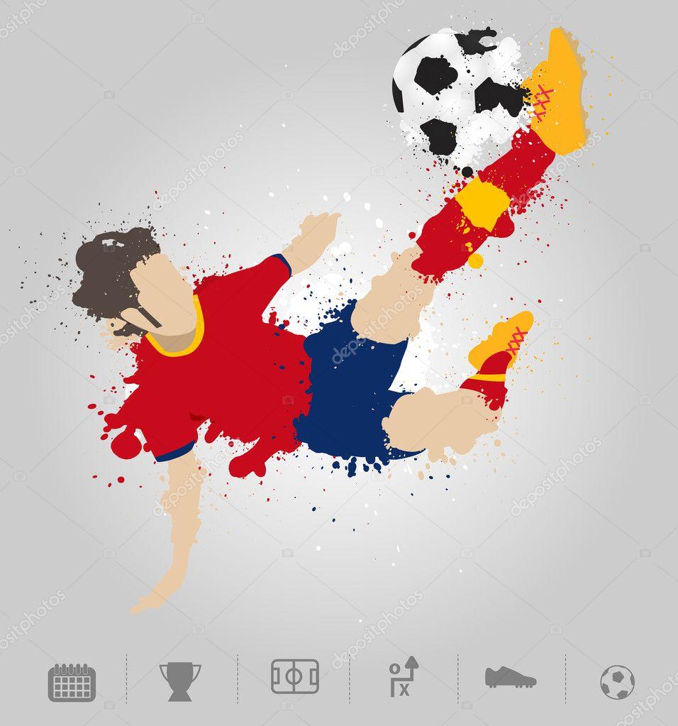 8bd68adafb733 Jugador de fútbol patea la pelota con diseño de salpicaduras de pintura.  plantilla de diseño moderno de ilustración vectorial — Vector de ...