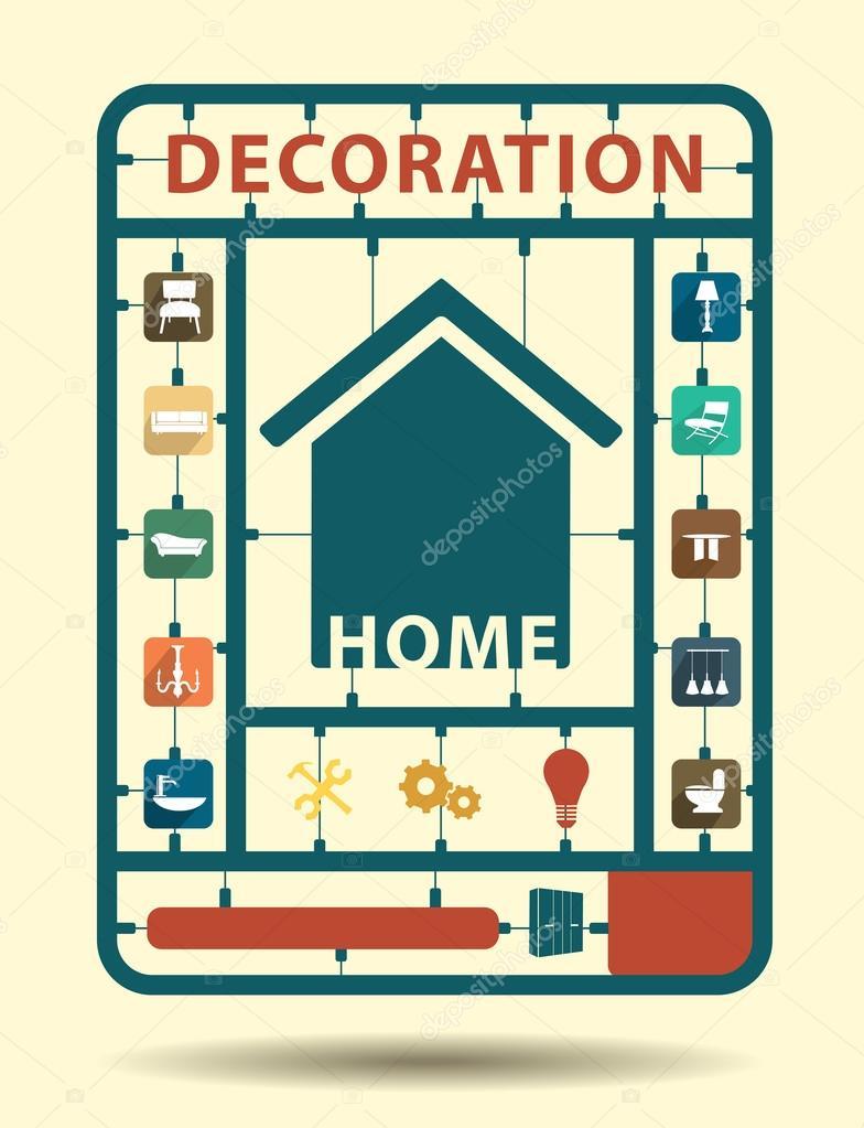 concepto de idea muebles iconos plana la decoracin del hogar u ilustracin de stock