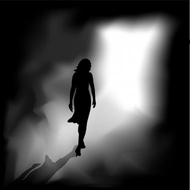 A woman from the darkness meets the bright light. stock vector