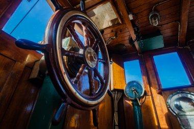 Steam Tug Vessel Pilot Wheel Cabin